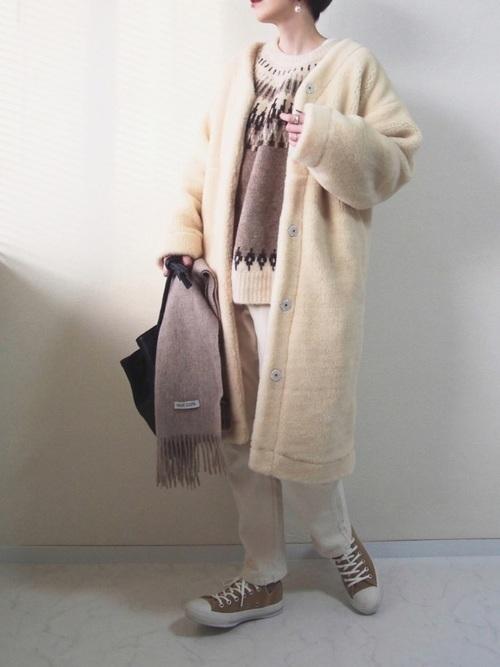 ボアコートを使った鎌倉の服装