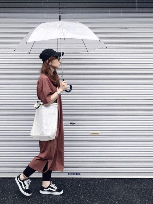 Tシャツワンピを使った鎌倉の服装