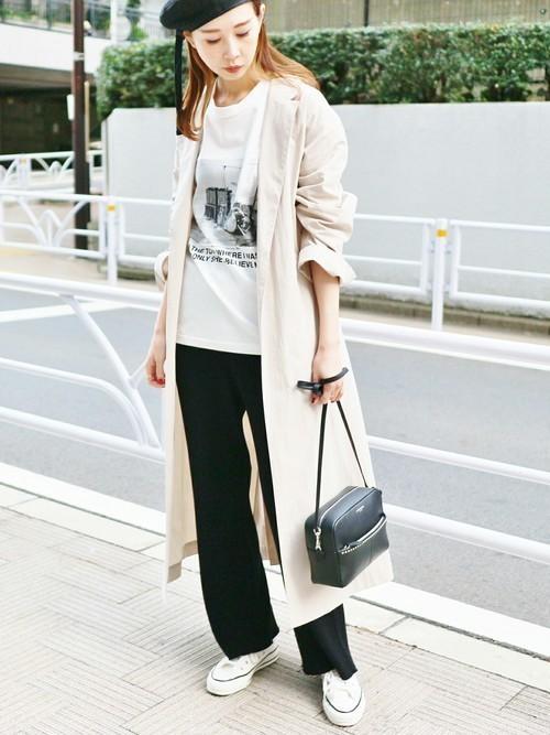 スプリングコートを使った鎌倉の服装