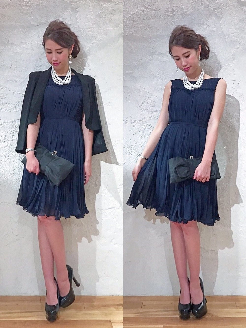紺ドレスに黒ジャケット