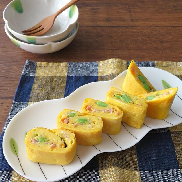 枝豆とベーコンの卵巻き