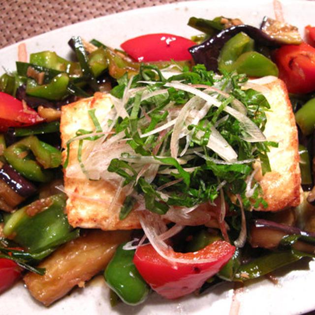 茄子とピーマンの薬味マリネ豆腐ステーキがけのレシピ