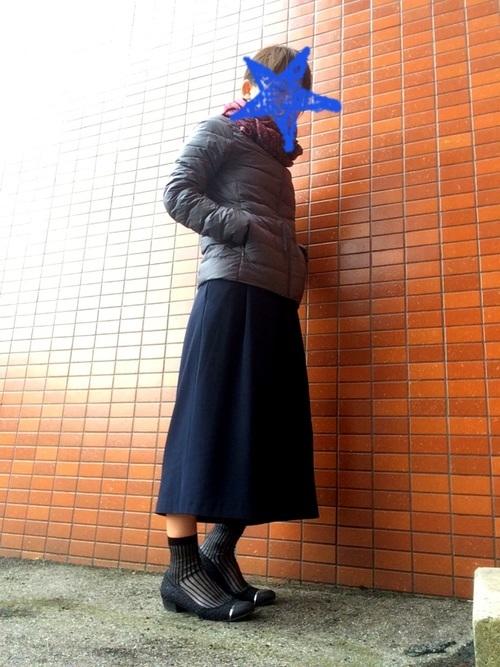 ダウンコートを使ったユニクロのスカーチョコーデ