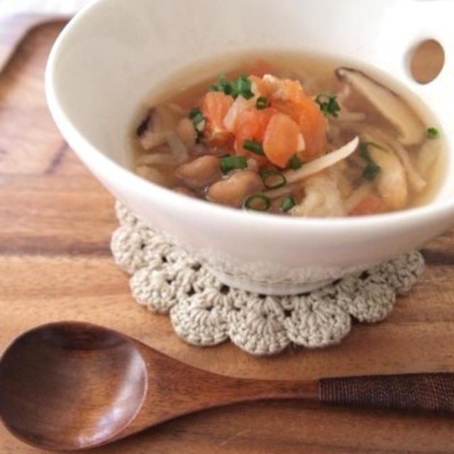 節分のお豆で酸辣湯風ヘルシースープのレシピ