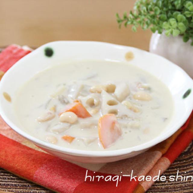 豆乳根菜スープ