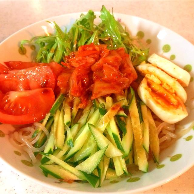 野菜たっぷりしらたき冷麺