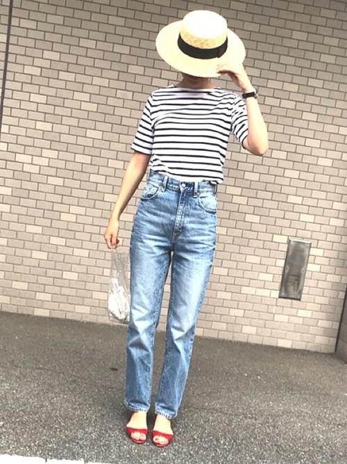 セントジェームスのボーダーTシャツ×色落ちデニムのコーデ