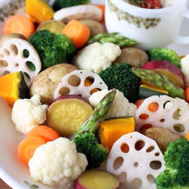 梅マヨソースの温野菜サラダ