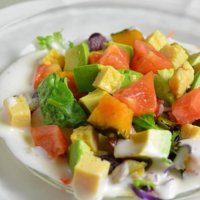 ヨーグルトドレッシングの生野菜&温野菜サイコロサラダ