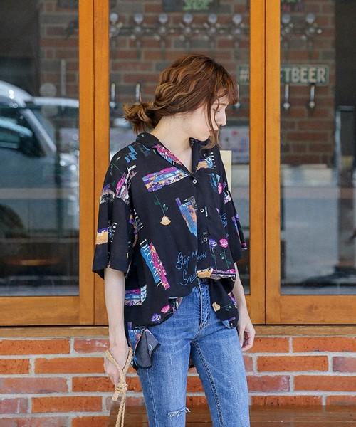 ヴィンテージシャツのフロントタックインコーデ