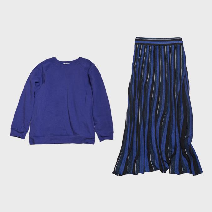 ザラのビックスウェット、ストライプスカート