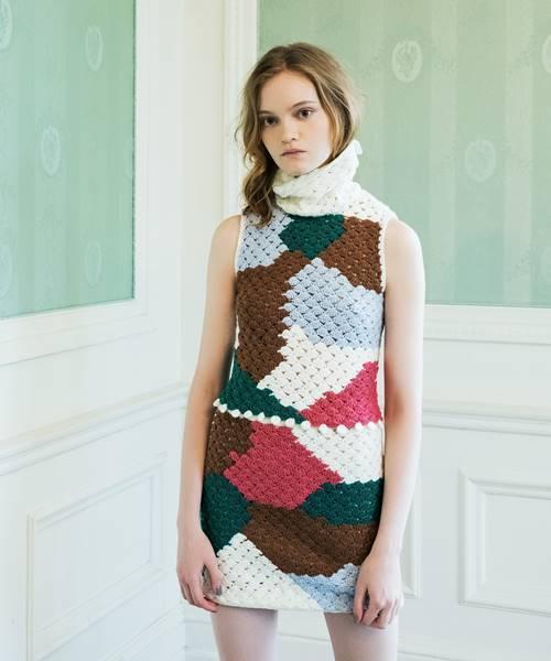 かぎ針カラーブロックスカート