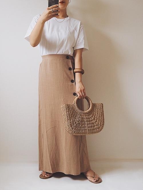 小柄さんにおすすめのロングスカートの夏コーデ