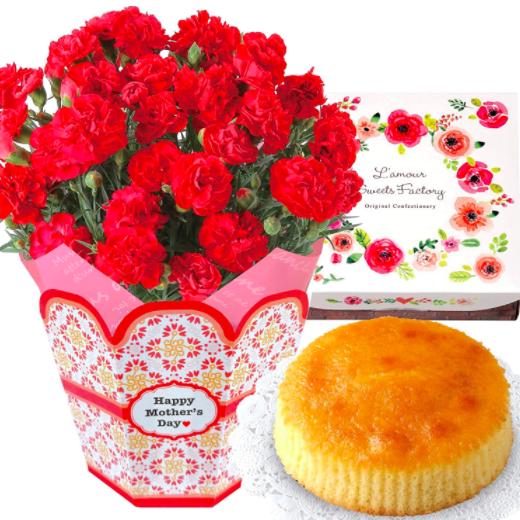 花のギフト社 母の日 カーネーション チーズケーキ 花とスイーツの写真