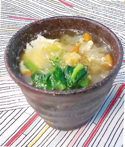 温まろう!具だくさん玉子おとし生姜スープでのレシピ