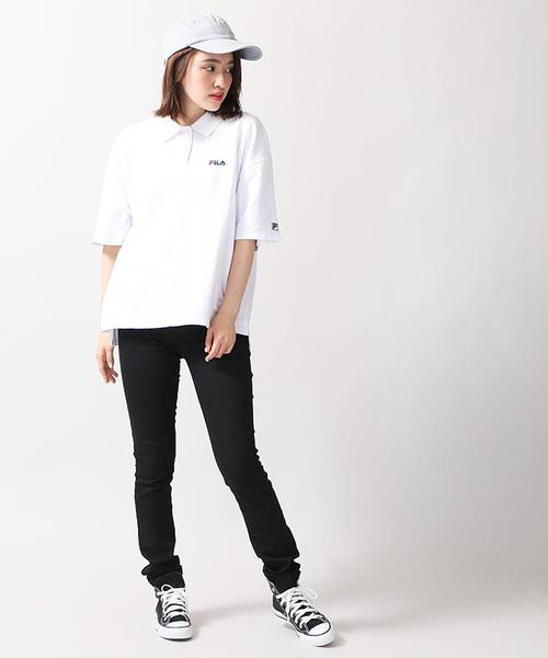 白ポロシャツを使ったコーデ