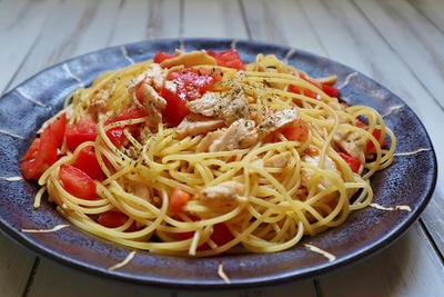 ささみとトマトのパスタ