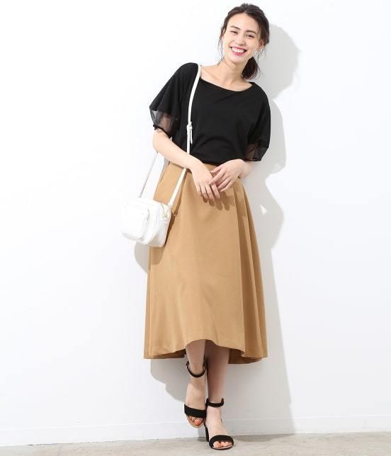 ViS(ビス)タックフレアミディ丈スカート