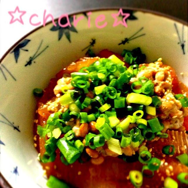 ぴり辛ねばねば マグロの漬け丼のレシピ
