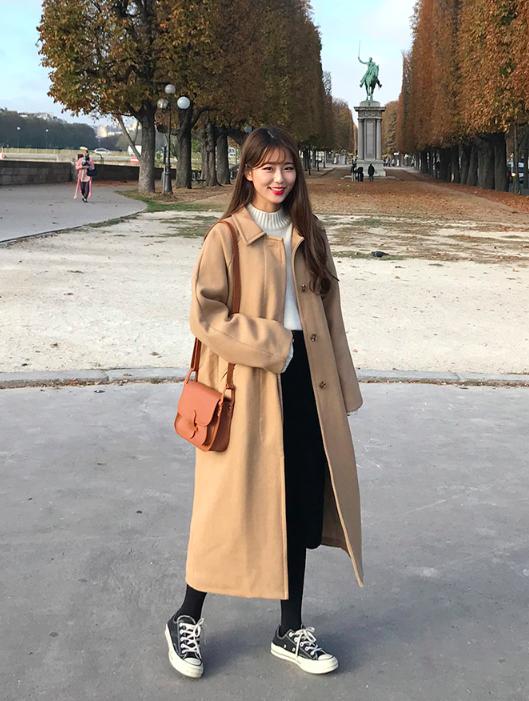 コートを使った旭川の服装