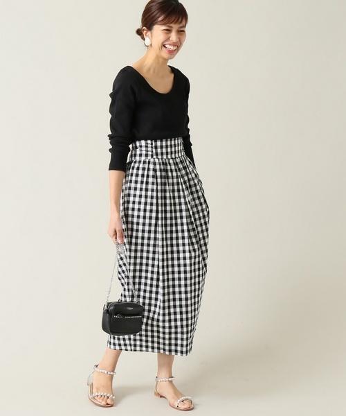 40代におすすめのギンガムチェックのスカートを使った春コーデ