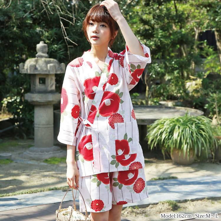 白×赤の甚平コーデ
