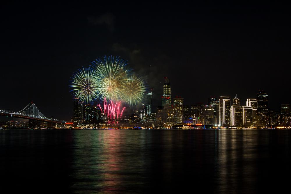 サンフランシスコの新年を祝う花火