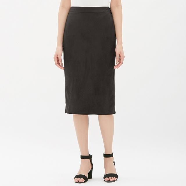 GUスエードタッチタイトミディスカート