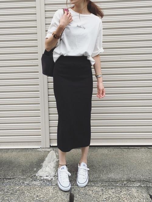 スウェットスカートの夏コーデ