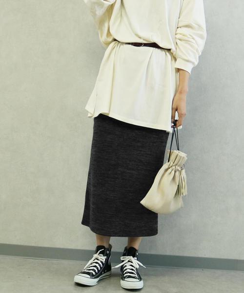 ダークグレーのスウェットタイトスカート