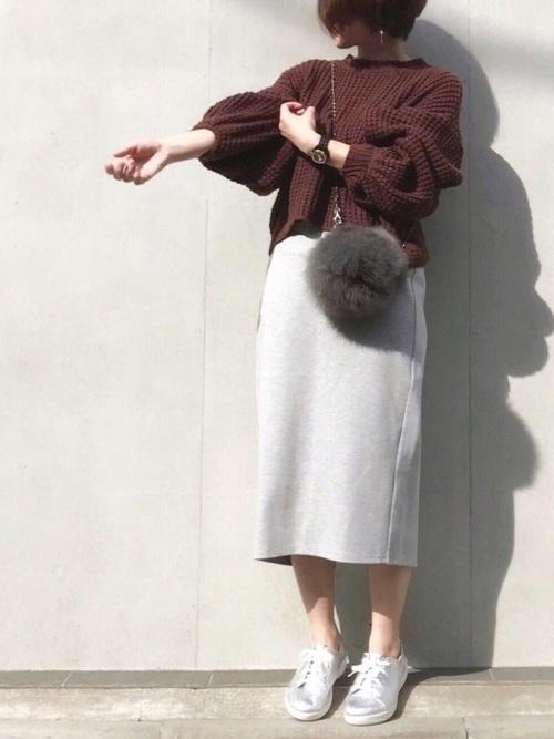 GUのスウェットスカートを使った秋コーデ