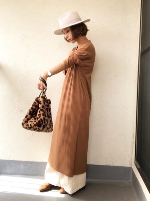 マキシ丈ワンピを使った小柄さんのファッション