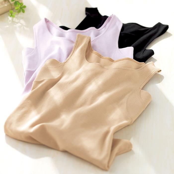 ベルーナ綿100%ひんやり汗取りインナータンクトップ
