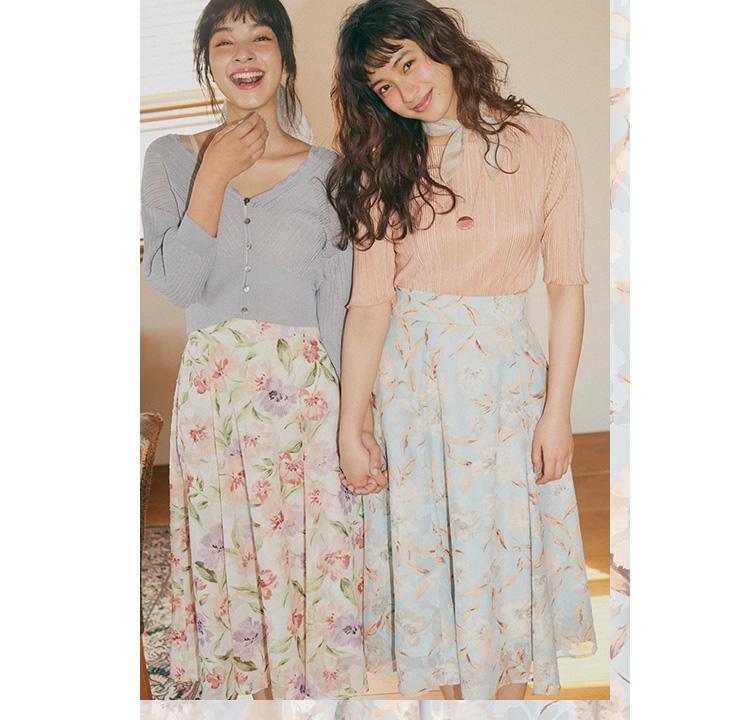 玖瑠実と蒼葉える 着映え感抜群のフラワープリントスカート