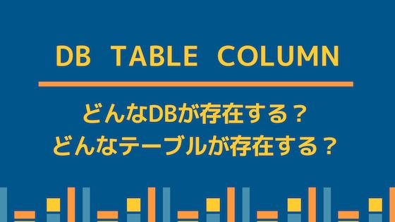 データベース, テーブル, カラムの確認