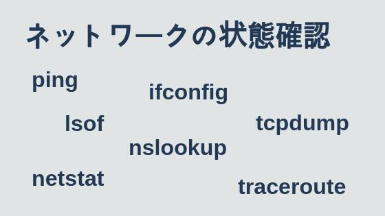 ネットワークの状態確認(ping, ifconfig, netstatなど)