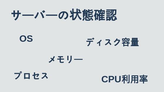 サーバーの状態確認(プロセス, メモリー, ディスク容量)