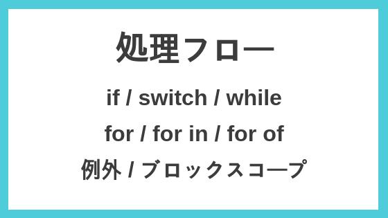 処理フロー(if, switch, for in, for of, 例外)