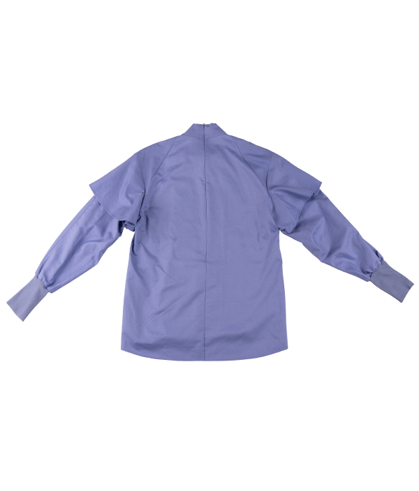 COTTON STAND UP COLLAR BLOUSE - BLUE