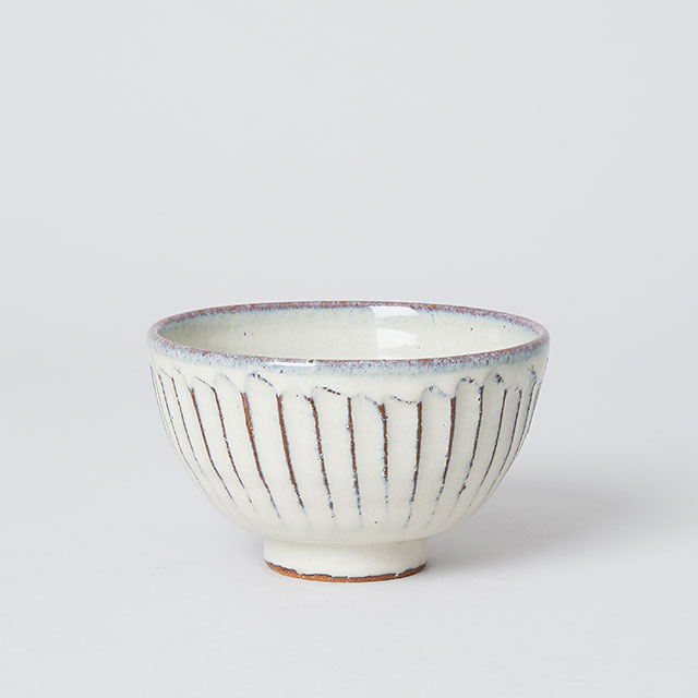 炎の味がま×TODAY'S SPECIAL しのぎのめし碗 白釉彫