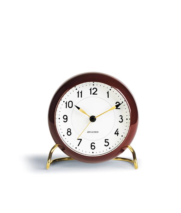 Arne Jacobsen Table clock / Burgandy