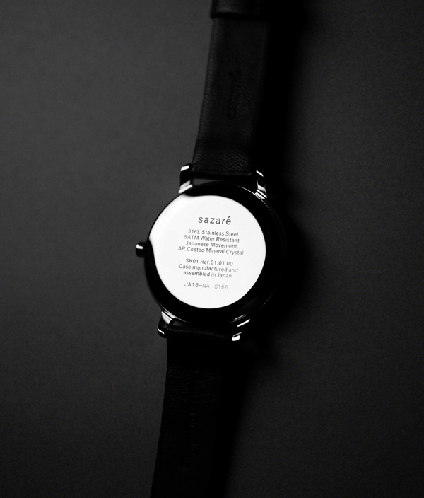 sazaré /01.02 /Silver Honing /Black Dial /Black Strap