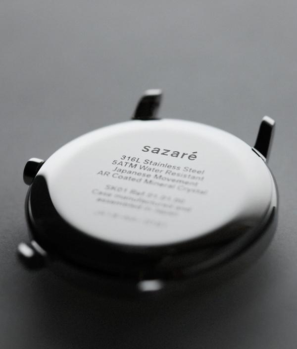 sazaré /01.04 /Black Honing /White Dial /Black Strap