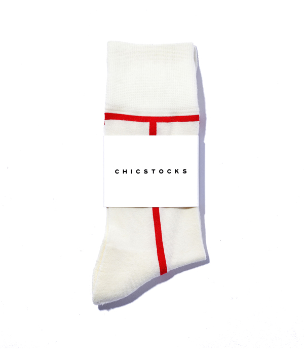 LINE SOCKS /L /Ivory×Red /CHICSTOCKS