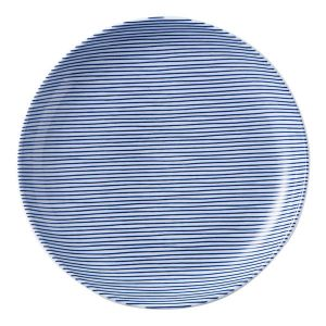 細縞 丸皿 23cm 青