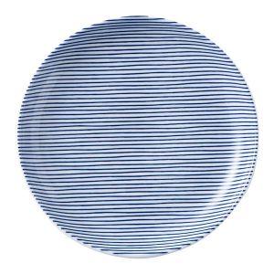 細縞 丸皿19cm 青