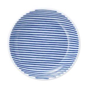 細縞 丸皿 10cm 青