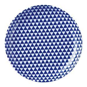 山格子 丸皿 19cm 青