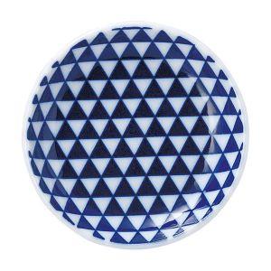 山格子 丸皿 10cm 青