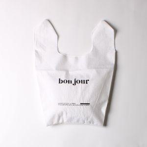 刺繍ナイロンショップバッグ bonjour